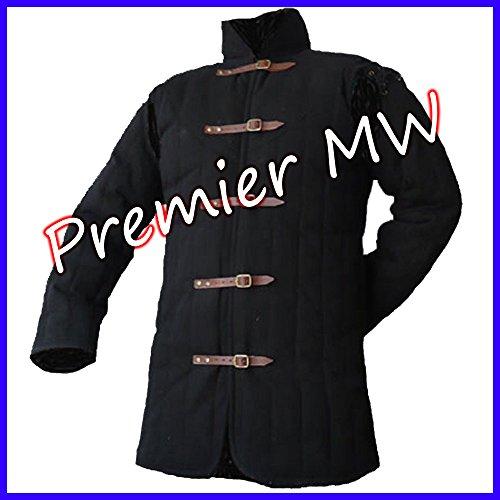 PREMIER MW Black L Size Gambeson Type IV Medieval Padded Armour Coat SCA LARP Arming Jacket (Premier Cotton Jacket)