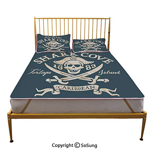 (Pirate Creative Queen Size Summer Cool Mat,Shark Cove Tortuga Island Caribbean Waters Retro Jolly Roger Sleeping & Play Cool Mat,Slate Blue White Light Mustard)