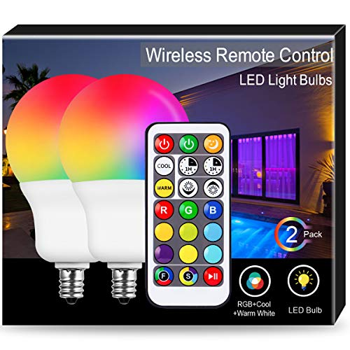 JandCase E12 RGB LED Bulb, A19 Color Changing Bulbs, 6W, 40W Equivalent, Cool&Warm White Available, 500lm, Dimmable Light for Holiday Decor, Party, Porch, Candelabra Base, Remote Controller, 2 Pack