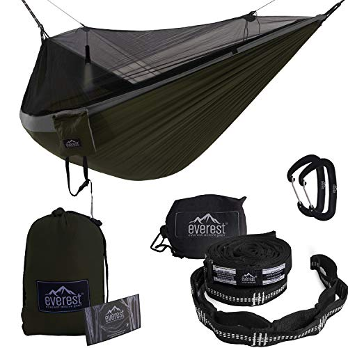 Everest Double Camping Hammock with Mosquito Net | Bug-Free Camping, Backpacking & Survival Outdoor Hammock Tent | Reversible, Integrated, Lightweight, Ripstop Nylon | Gray/Green/Net Black (Eno Tent Hammock)