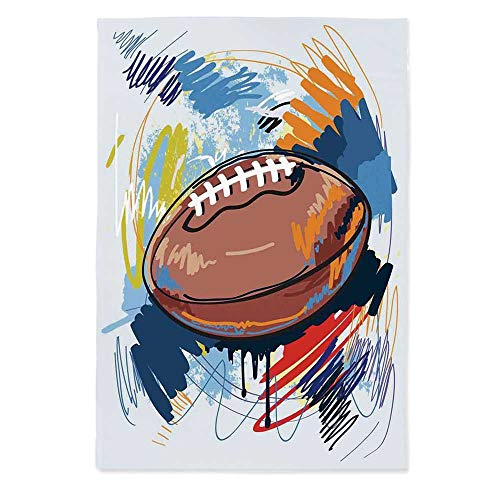 Sports Waterproof Tablecloth,Diamond Shape Rugby Ball Sketch with Colorful Doodles Professional Equipment League for Dining Table Tea Table Desk Secretaire,40.2''W X 60.2''L