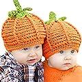 Baby Knit Pumpkin Hats, Infant Newborn Boy Girl Halloween Crochet Beanie Cap Photography Prop