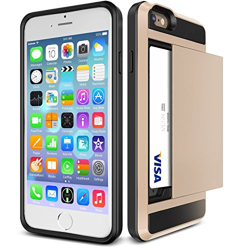 """iPhone 6S Case, iPhone 6 Case, tekSonic [Card Slide][Champagne Gold] - [Card Slot][Drop Protection][Heavy Duty][Wallet] - Case Cover For Apple iPhone 6 and iPhone 6S 4.7"""" Devices (Gold)"""
