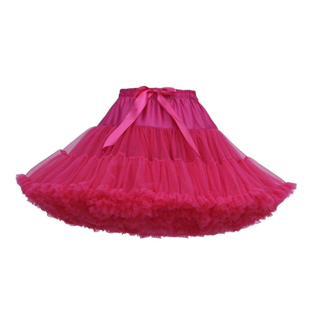 Women's Tulle Skirts A-Line Mini Skirts Fashion Sexy Solid Color Party Dance Ballet Bow Short Tutu Skirts (Free Size, H)