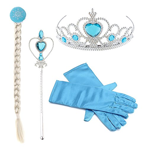 Hpwai Princess Little Girls Kids Frozen Elsa Party Dress Up Accessories,Crown Braid Wand Blue Gloves Princess Blue Jewelry Gift Set ()
