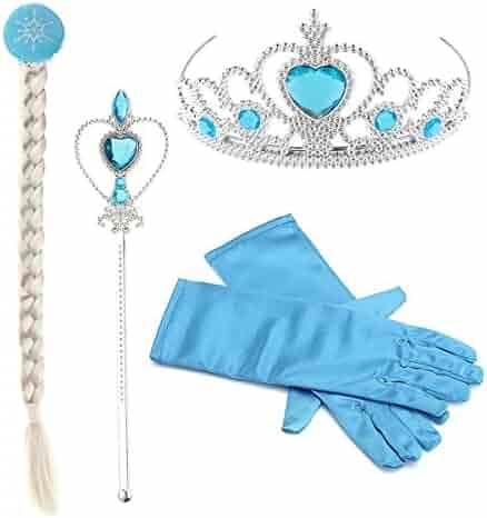 Princess Little Girls Kids Frozen Elsa Dress Up accessories,Crown Braid Wand Blue Gloves Jewelry Set