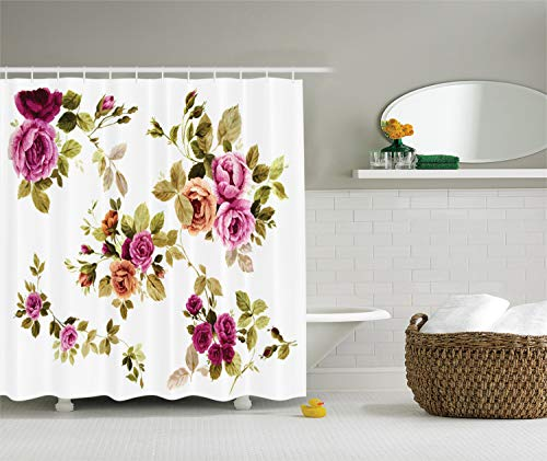(Ambesonne Watercolor Flower Decor Collection, Branch of Rose Blossoming Classic Floral Design, Polyester Fabric Bathroom Shower Curtain Set with Hooks, Purple Green White Olive)