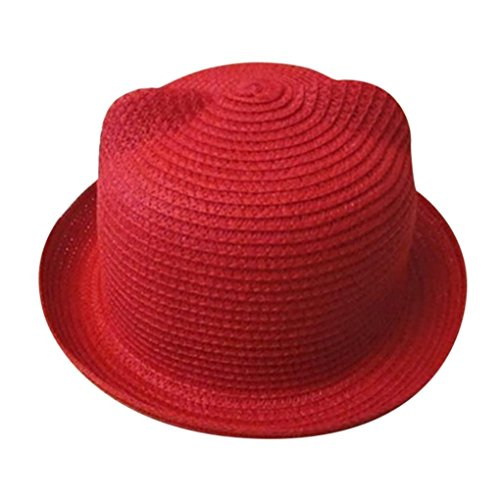 Kids Beach Sun Visor Cap,Kaicran(TM) Hot Sales Summer Unisex Child Cat Ear Straw Hat Little Boy Girls Breathable Sun Protection Hats Caps for 2-6 Years Old (Red)]()