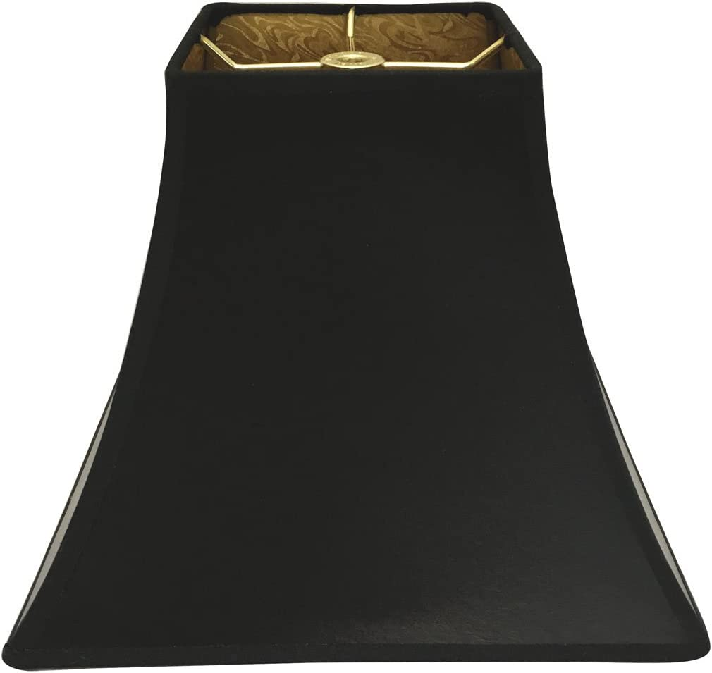 Royal Designs HB-628-10BLK GL Black 10 Square Bell Hardback Lamp Shade with Ponyhair Gold Lining 5 x 5 x 10 x 10 x 8.5