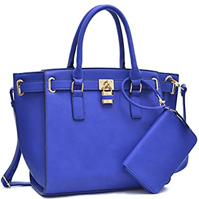 Women Large Vegan Leather Tote Bags Structured Work Bags Shoulder Purses Handbags for Women with Padlock