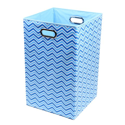 Modern Littles Sky Zig Zag Folding Laundry Basket, Blue