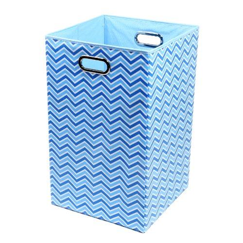 Modern Littles Sky Zig Zag Folding Laundry Basket, Blue