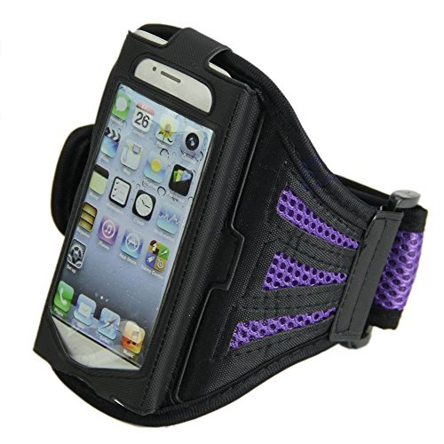Efanr Outdoor Sports Adjustable Running Jogging Gym Armband Arm Band Case Cover for iPhone 5, 5S, 5C, 4, 4s and iPod Touch 5th Generation (Purple)