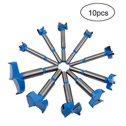 Carbide Cutting Forstner Bit (Hanperal 10pcs Professional Forstner Carbide Drill Bit Set Wood Cutting Hinge Boring Bit(Blue))