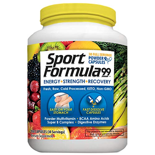 Sport Formula Daily Keto Multivitamin BCAA Amino Acid Powder Capsules for Men and Women. Won't Upset Your Stomach: Natural Vitamin B Energy Complex: Anti Aging Immune System Support