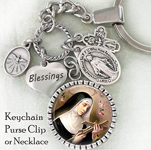 St. Rita of Cascia Keychain, Purse Clip, Backpack Clip or Necklace, Patron Saint, Catholic Confirmation Gift
