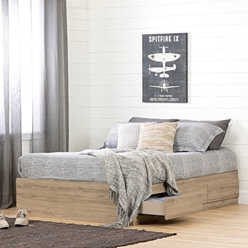 duzy Mates Bed with Storage Drawers, Full, Rustic Oak ()