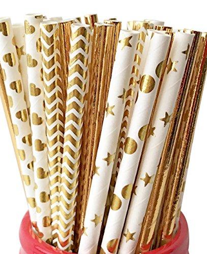 125 ct. Gold Paper Straws Mix Foil Polka Dot Chevron Star Heart Cake Pop Sticks (Gold Cake Pop Sticks)