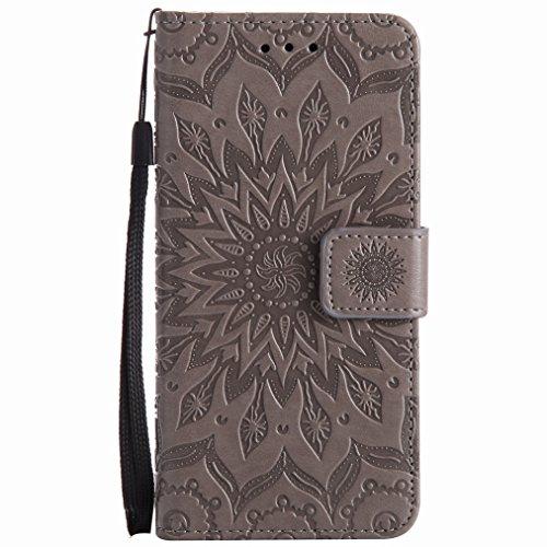 Yiizy Samsung Galaxy J5 (2017) Custodia Cover, Sole Petali Design Sottile Flip Portafoglio PU Pelle Cuoio Copertura Shell Case Slot Schede Cavalletto Stile Libro Bumper Protettivo Borsa (Grigio)