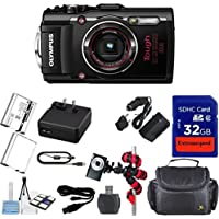 Olympus TG-4 16 MP Waterproof Digital Camera with 3-Inch LCD (Black) + Extra Battery + Original Accessories + Extremespeed 32GB Commander Memory + Spider Flexible Tripod + Carrying Case + 12pc Bundle Overview Review Image