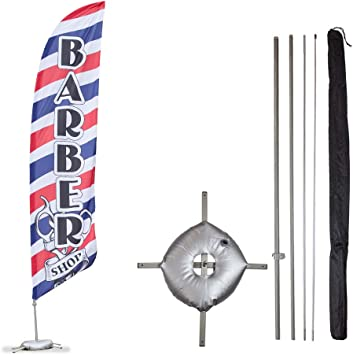 - Style 1 8ft Feather Banner Single-Sided, Poles and Cross Base Included Open House