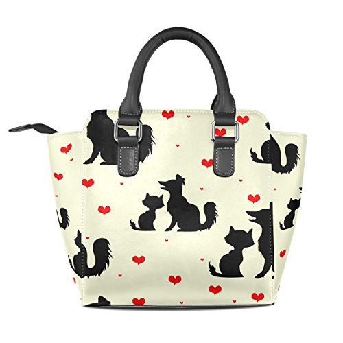 Tote Love Shoulder Women's Dogs Cats TIZORAX Bags Leather Handbags And HxqC0w7