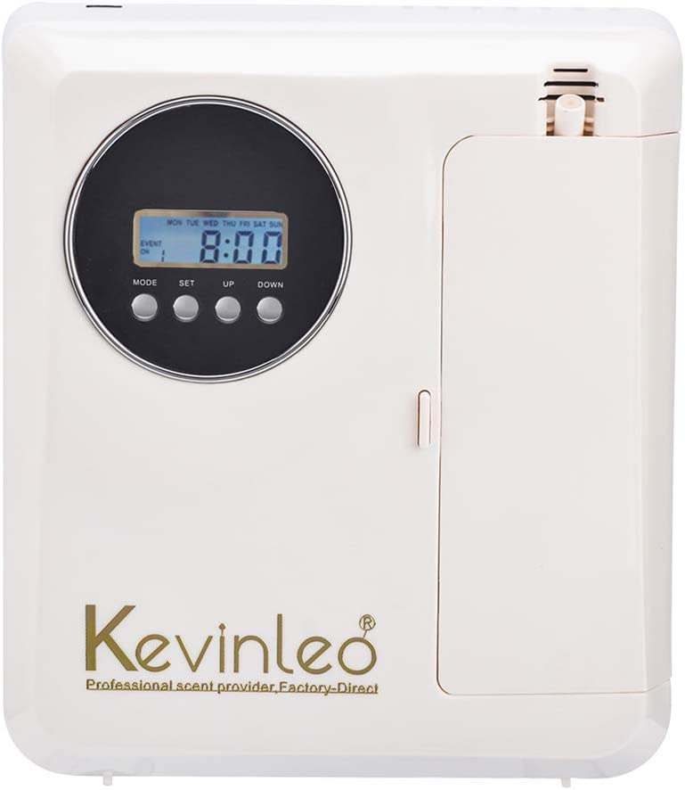 Kevinleo Scent Air Machine Aroma,Waterless,210ml Bottle,Last Long to 120 Hours,Flexible Work Time(Monday-Sunday),12V USA Plug,Hang on Wall/Table,Fragrance Air Dispenser at Hotel SPA KTV Office