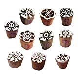 Clay Printing Stamps Arty Crafty Small Floral Shape Wooden Blocks (Set of 10)