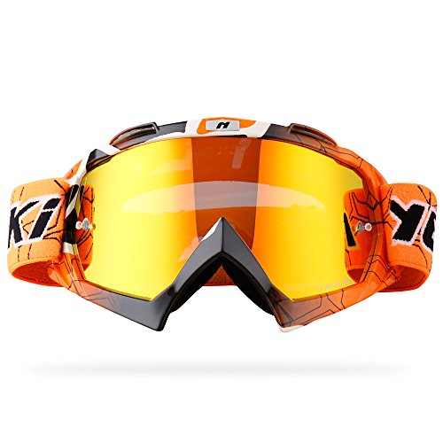 NENKI Motocross ATV Goggles NK-1019 MX ATV Off Road Dirt Bike Goggles For Unisex Adult (Techline Orange,Iridium Red ()