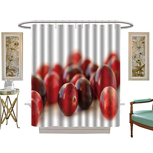 luvoluxhome Shower Curtain Collection by red Cranberries Macro on White Background Bathroom Decor Set with Hooks W69 x L70