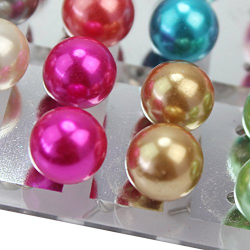 12 Paires Fantastique Bijou Clous Boucle d'Oreille Ronde Perlés Multicouleurs