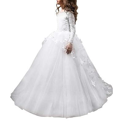 Abaowedding Flower Girls' Dress for Wedding Butterflies Long Sleeve Princess Dress: Clothing