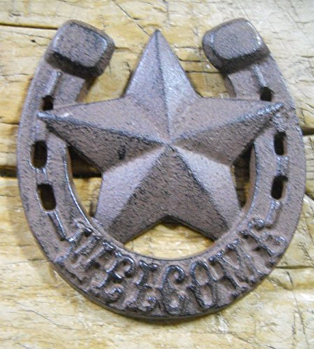 (New Cast Iron by YourLuckyDecor HORSESHOE STAR WELCOME Cowboy Plaque Sign Rustic Ranch Wall Decor)
