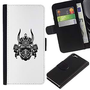 KLONGSHOP / Tirón de la caja Cartera de cuero con ranuras para tarjetas - Warrior Horn Scary Japan - Apple iPhone 6 4.7