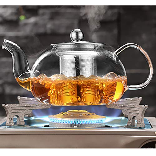 Large Glass Teapot with Stainless Steel Infuser and Lid,Borosilicate Glass Tea Kettle Stovetop Safe, Blooming & Loose Leaf Teapots, (33.8oz,1000ml)