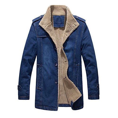 DeLamode Men Denim Cotton Jacket Jeans Long Winter Wearm Velvet Cowboy Coat Blue-S