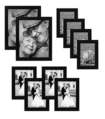 10 piece multi pack black picture frame value set set of 10 picture frames two 8x10 inches four 5x7 inches four 4x6 inches glass front on each frame