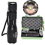 ustopfire New A100 Cree XM-L2 2000Lumens LED 5-Mod Flashlight Torch Lamp with Charger and 1 x 18650 Battery and holster and Universal clamp and Gift box