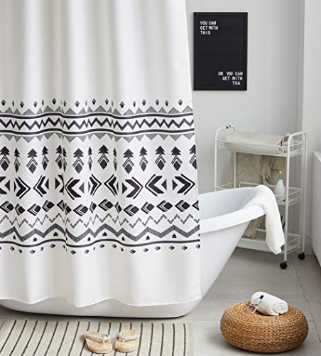 Uphome Fabric Shower Curtain Black and White Geometric Pattern Cloth Shower Curtain Set with Hooks Chic Boho Bathroom Decor,Heavy Duty Waterproof, 72x72 - [Uphome Design] -This polyester shower curtains made of 100% fabric adds extra rust-resistant metal grommets and 12 high-quality plastic hooks Without the ROD, features with geometric pattern, which can blend with any existing home decor. [Function] Waterproof and heavy-duty, can be used as shower curtain alone, when you take shower the curtain which can prevent it from fluttering, splashing. [Care Instructions] Machine washable in cold water with mild detergent and hang to dry. It could be better cleaned with a quick rinse or wipe after a shower, Low iron; Don't bleach or tumble dry. The Color will stay nice and vibrant for years. - shower-curtains, bathroom-linens, bathroom - 51vFUvnCFsL -