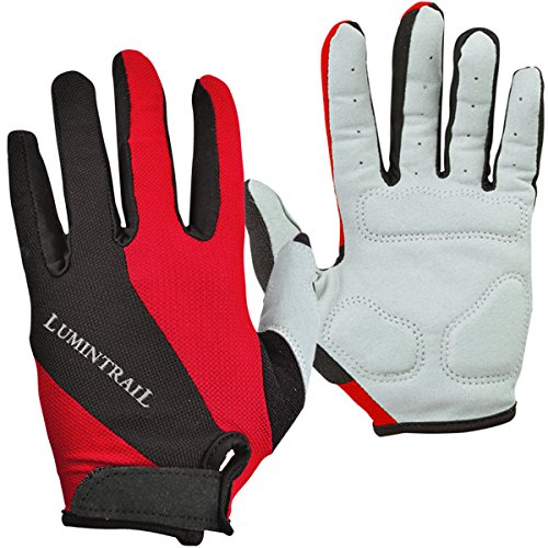 Fingered Cycling Glove - Lumintrail Shock-Absorbing Riding Full Finger Cycling Bike Gloves Breathable Sport for Men and Women (Red, X-Large)