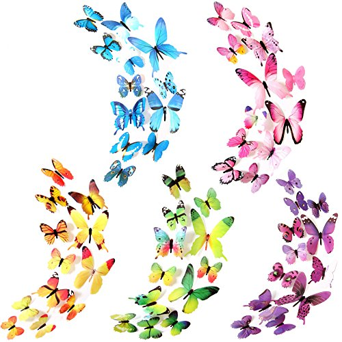 Butterfly Wall Decals, 3D Butterfly Wall Sticker for Room Home Nursery Decor (60 PCS 5 Colors)