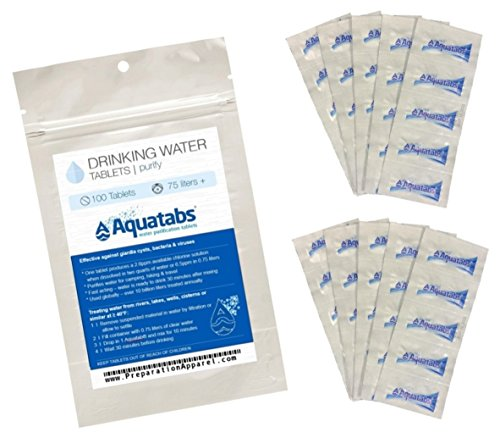 100 Pack - World's #1 Water Purification Tablets - Aquatabs (Water Tabs Aqua)