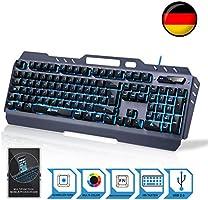 KLIM Lightning – NEU – Hybrid Halbmechanische Tastatur USB QWERTZ DEUTSCHE + Sieben Verschiedene Farben + 5-Jahre Garantie – Metallstruktur – Gamer Gaming-Tastatur für Videospiele PC Windows, Mac