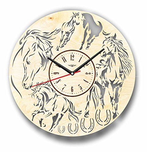 7ArtsStudio Horses Wall Clock Made of WOOD - Perfect and Beautifully Cut - Decorate your Home with MODERN ART - UNIQUE GIFT for Him and Her - Size 12 Inches ()