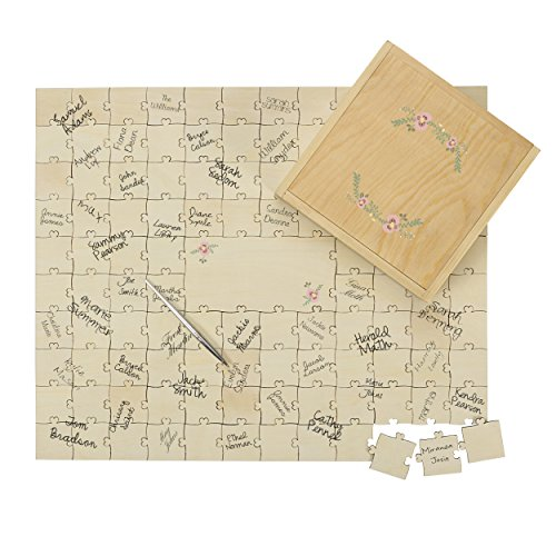 Cathy's Concepts Personalized Wedding Guestbook Puzzle, Tan ()