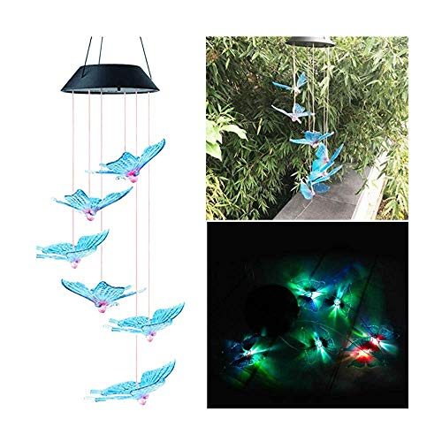 LED Solar Powered Wind Chime Light Garden Outdoor Hanging Spinner Lamp Color Changing,Suit for Christmas, Halloween,Thanksgiving Day,Mother's Day,Valentine's Day,Party,Unique Decoration (Multicolor J)