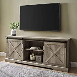 Farmhouse Living Room Furniture Walker Edison Modern Farmhouse Sliding Barndoor Wood Tall Universal Stand for TV's up to 70″ Flat Screen Living Room Storage Cabinet Entertainment Center, Grey Wash farmhouse tv stands