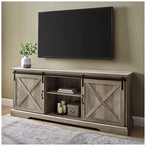 Farmhouse Living Room Furniture Walker Edison Nathaniel Modern Farmhouse Sliding X Barn Door TV Stand for TVs up to 80 Inches, 70 Inch, Grey Wash farmhouse tv stands