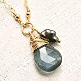 Moss aquamarine necklace Tahitian cultured pearl 14kt gold-filled 17 inch March birthstone
