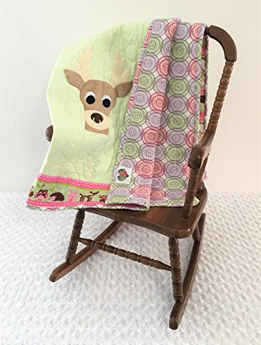 Small Green and Pink Deer Applique Quilt